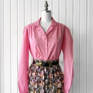 Vintage Pink Embroidered Collar Button Front Top